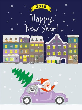 New year 2018 card with coming santa to night old city