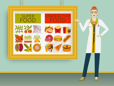 Nutritionist showing healthy and unhealthy food on a picture. Vector illustration.
