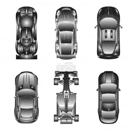 Illustration for Sport and racing cars top view icons set , isolated on white background. Halftone dots. vector illustration. - Royalty Free Image
