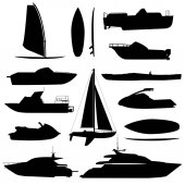 Sea ship silhouettes Boats adapted to the open sea for coastal shipping trade and travelling Vector flat style cartoon illustration isolated on white background
