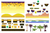 Tropical Forest Landscape Elements Realistic Vector collection For Video Game On White Background