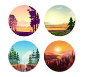 Collection of round illustrations on nature city and sport theme Use as logo emblem icon or your design work