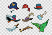Pirate set of knives and hats Pop art retro illustration Parrot