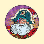 Santa Claus pirate Pop art retro vector illustration Candy eye patch