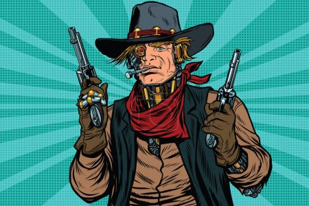 Steampunk robot cowboy bandit with gun