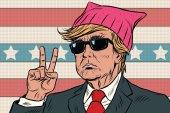 Donald Trump President feminist pink pussy hat
