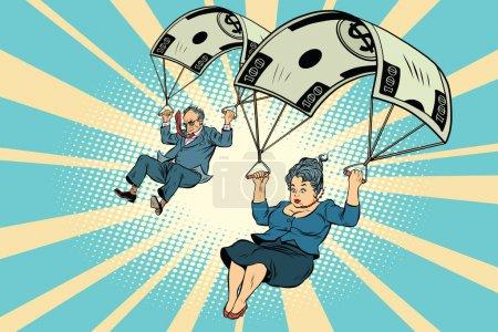 Illustration pour Compensation financière parachute doré dans l'entreprise. Homme d'affaires et femme d'affaires sautant vers le bas. BD vintage pop art rétro style illustration vecteur - image libre de droit