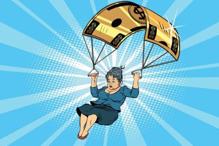 Illustration pour Femme Golden parachute compensation financière dans l'entreprise. BD vintage pop art rétro style illustration vecteur - image libre de droit