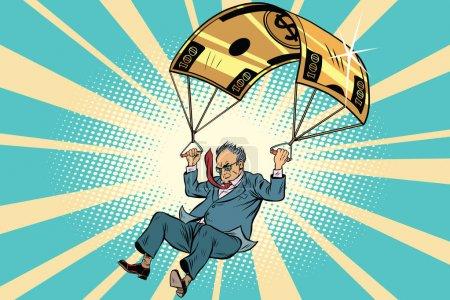 Illustration pour Personne âgée Golden parachute compensation financière dans l'entreprise. BD vintage pop art rétro style illustration vecteur - image libre de droit