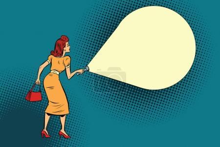 Illustration pour Lampe de poche femme lumière. Espace de copie. BD dessin animé pop art rétro couleur vecteur illustration dessiné à la main - image libre de droit
