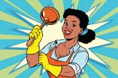 Cleaner with a plunger African American people