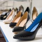 Women's shoes in a shop window in a store, Russia...