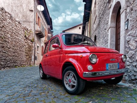 Red vintage city car fiat