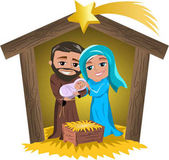 Christmas nativity scene with Joseph Mary and newborn Jesus in a hut isolated