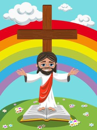Cartoon Jesus open arms gospel bible meadow