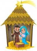 Christmas nativity scene hut isolated