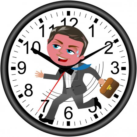 Red faced businessman running against time in a wall clock isola