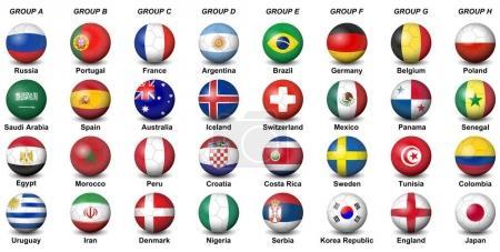 soccer balls flags countries final tournament  2018 football wor