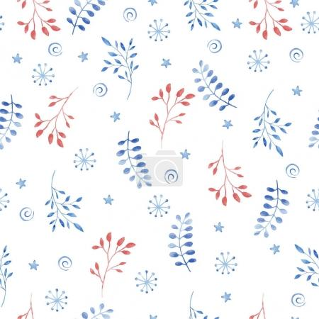 Seamless floral pattern with twigs