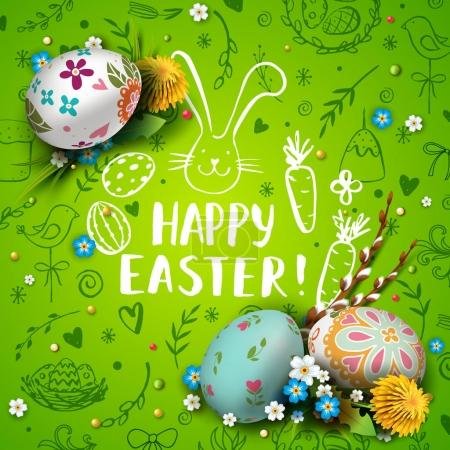 Illustration for Template vector card with realistic  eggs and flowers. Handwriting inscription Happy Easter and bunny. Green background. Willow branch and dandelions.  Lettering, calligraphy. 3D. Doodles hand drawn elements. - Royalty Free Image