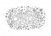 Template vector greeting card with hand drawn elements: bunny cake willow eggs and chicken