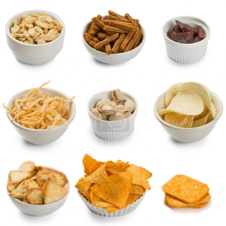 Photo for Salty beer snacks isolated on white - Royalty Free Image