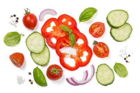 Photo pour Concept de saine alimentation - sélection de légumes frais sur fond blanc, vue de dessus - image libre de droit