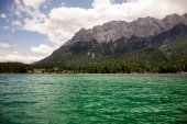 Beautiful mountain views from Eibsee lake, Germany