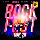 Rock festival flyer design template Modern style 70s  80