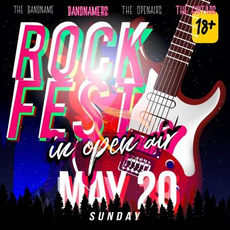 Rock fest in open air! Rock festival flyer, banner or poster