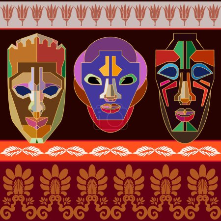 Undiscovered Africa. Ethnic border with stylized African tribal masks inspired by aboriginal Arts.
