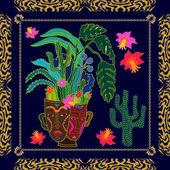 Succulent garden Textile print inspired by aboriginal art motifs