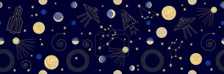 Illustration for Seamless vector pattern with stars, planets, space ships and constallations. - Royalty Free Image