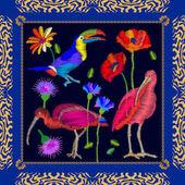 Amazonian birds embroidery