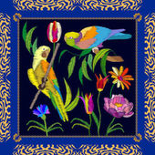 Amazonian parrots embroidery