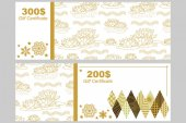 Gift voucher template Golden floral ornament with water lilies