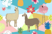 Creative animal print Seamless vector pattern with llamas flamingos and flowers