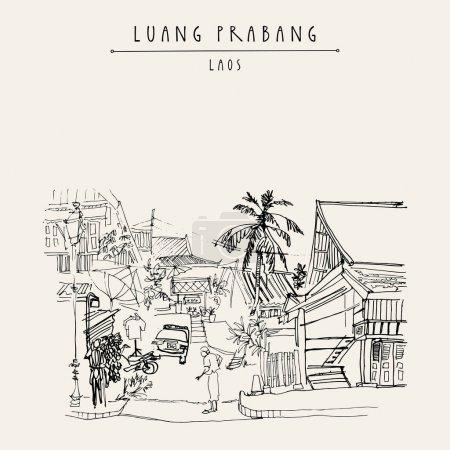 Street of Luang Prabang, Laos postcard