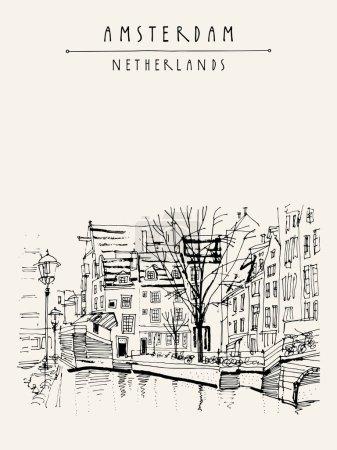 Illustration pour Amsterdam, Pays-Bas, Pays-Bas, Europe. Vue d'un canal et de bâtiments historiques traditionnels hollandais. Des maisons typiquement néerlandaises. Illustration de livre vectoriel, carte postale - image libre de droit