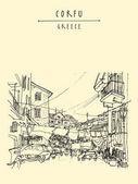 Street life of Corfu Greece