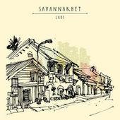street in Savannakhet town Laos