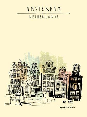 Illustration pour Amsterdam, Hollande, Pays-Bas Europe. Vieux centre avec bâtiments historiques traditionnels hollandais. Des maisons typiquement néerlandaises. Dessin manuel. Illustration de livre, carte postale ou affiche vectorielle - image libre de droit