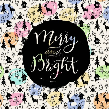 Illustration for Merry and Bright. Modern calligraphy. Handwritten inspirational Merry Christmas quote. Watercolor calligraphic hand lettering - Royalty Free Image