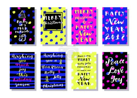 Set of modern calligraphic cards