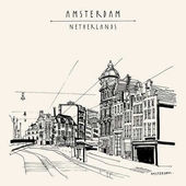 vintage postcard with Amsterdam