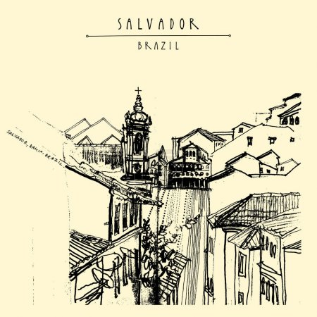 postcard with buildings in Salvador