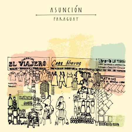 postcard with shopping area at Asuncion