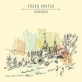 postcard with Peles castle