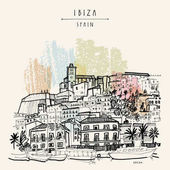Old city of Ibiza Town Balearic islands Spain Ibiza castle Historical buildingsTravel sketch