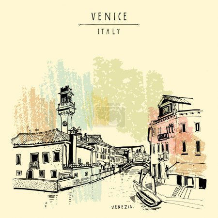 Hand drawn postcard of Venice